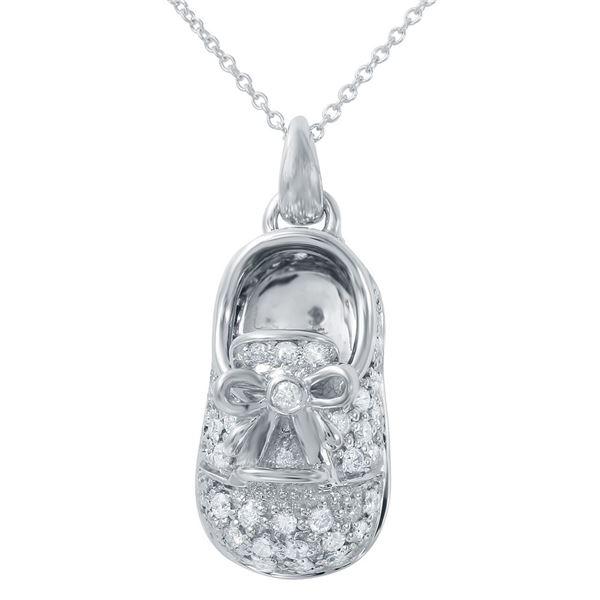 Natural 0.92 CTW Diamond Necklace 14K White Gold - REF-122F4M