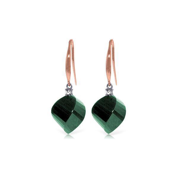 Genuine 30.6 ctw Green Sapphire Corundum & Diamond Earrings 14KT Rose Gold - REF-51R9P