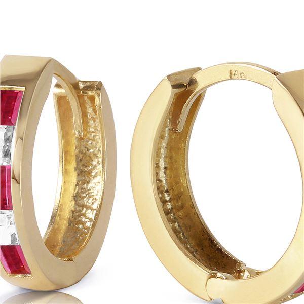 Genuine 1.26 ctw Ruby & White Topaz Earrings 14KT Yellow Gold - REF-39V3W