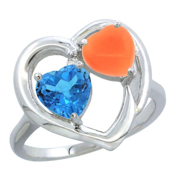 1.31 CTW Swiss Blue Topaz & Diamond Ring 10K White Gold - REF-23V5R