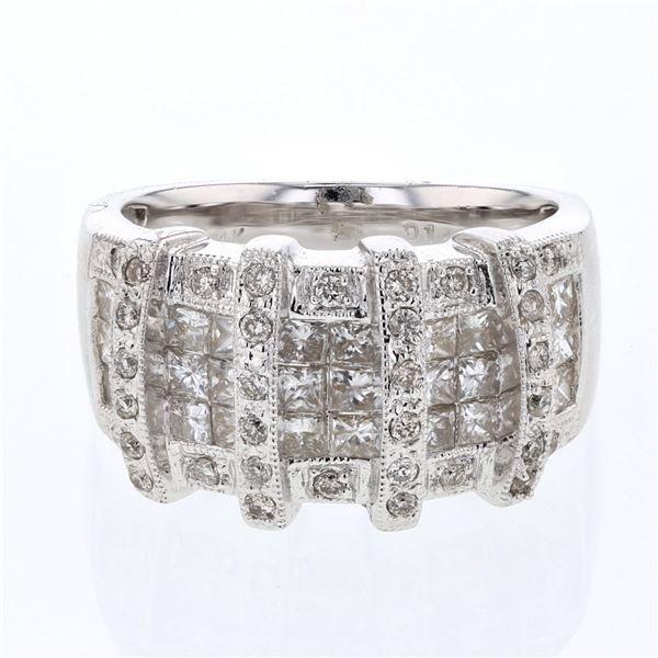 Natural 1.43 CTW Princess Diamond Ring 14K White Gold - REF-257F4M