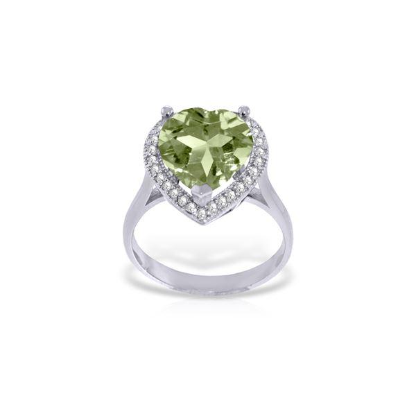 Genuine 3.24 ctw Green Amethyst & Diamond Ring 14KT White Gold - REF-66R9P