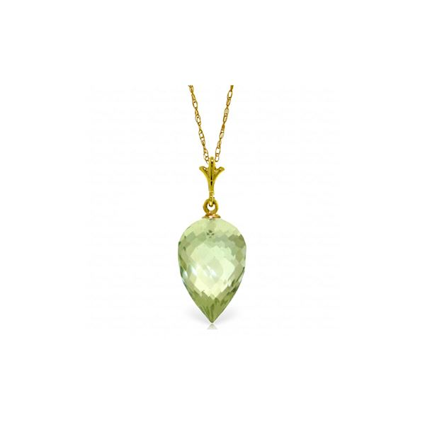 Genuine 9.5 ctw Green Amethyst Necklace 14KT Yellow Gold - REF-21V2W