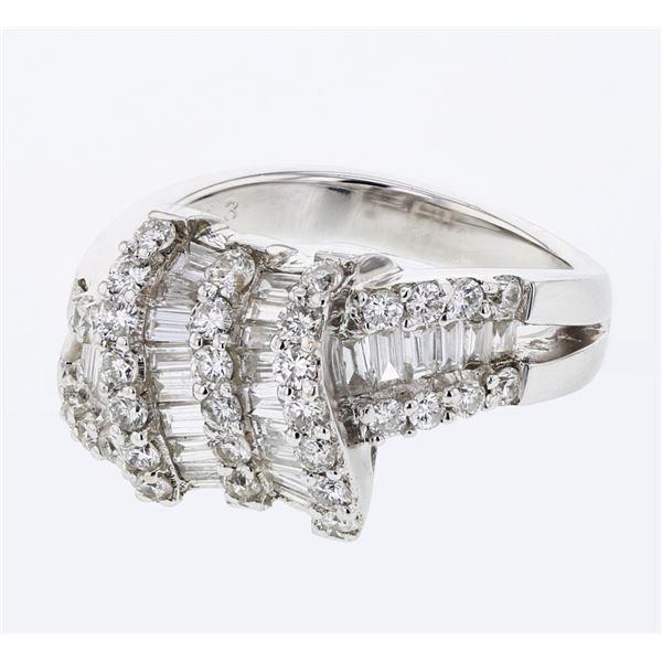 Natural 1.65 CTW Baguette & Diamond Ring 18K White Gold - REF-233T3X