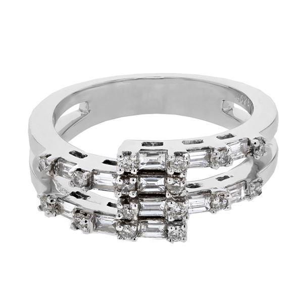 Natural 0.69 CTW Baguette & Diamond Ring 18K White Gold - REF-117W2H
