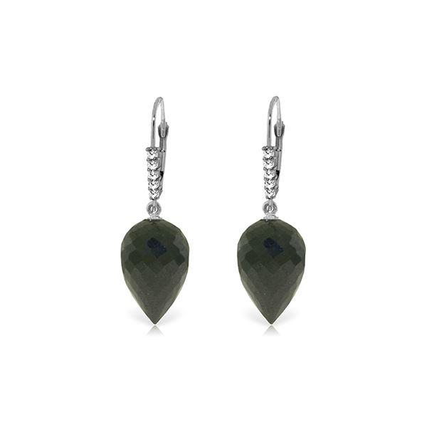 Genuine 24.65 ctw Black Spinel & Diamond Earrings 14KT White Gold - REF-46T7A