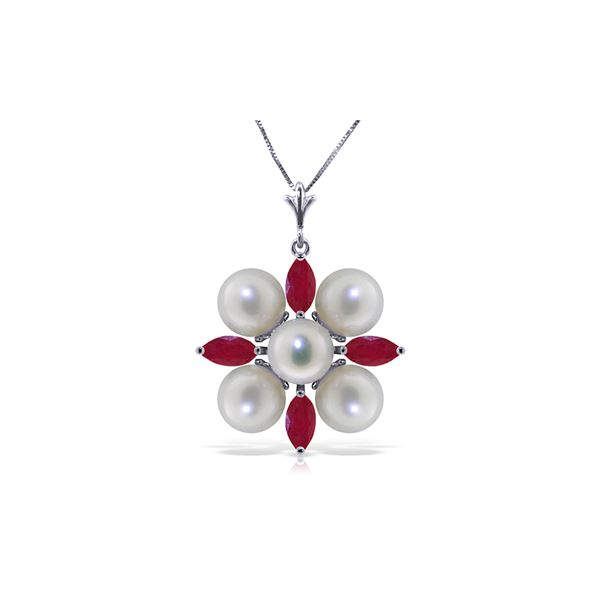 Genuine 6.3 ctw Ruby & Pearl Necklace 14KT White Gold - REF-62X6M