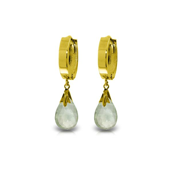 Genuine 6 ctw Green Amethyst Earrings 14KT Yellow Gold - REF-47X4M