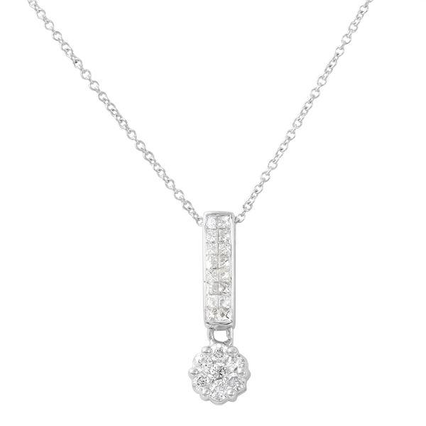Natural 0.50 CTW Princess Diamond Necklace 14K White Gold - REF-57T6X