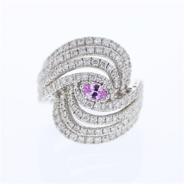Natural 2.60 CTW Pink Sapphire & Diamond Ring 18K White Gold - REF-351W9H