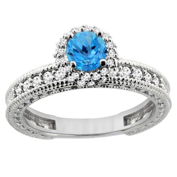 0.91 CTW Swiss Blue Topaz & Diamond Ring 14K White Gold - REF-65Y9V
