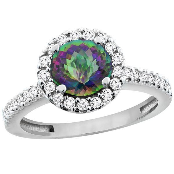 1.38 CTW Mystic Topaz & Diamond Ring 10K White Gold - REF-54N4Y