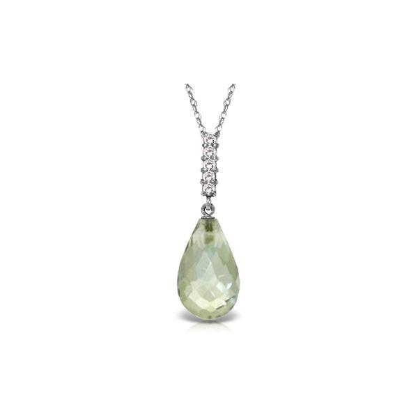 Genuine 5.38 ctw Amethyst & Diamond Necklace 14KT White Gold - REF-29M2T