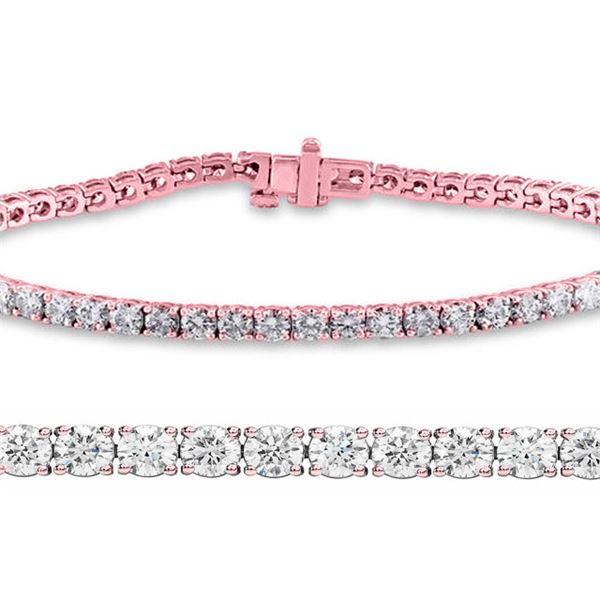 Natural 3.01ct VS2-SI1 Diamond Tennis Bracelet 14K Rose Gold - REF-210R6W
