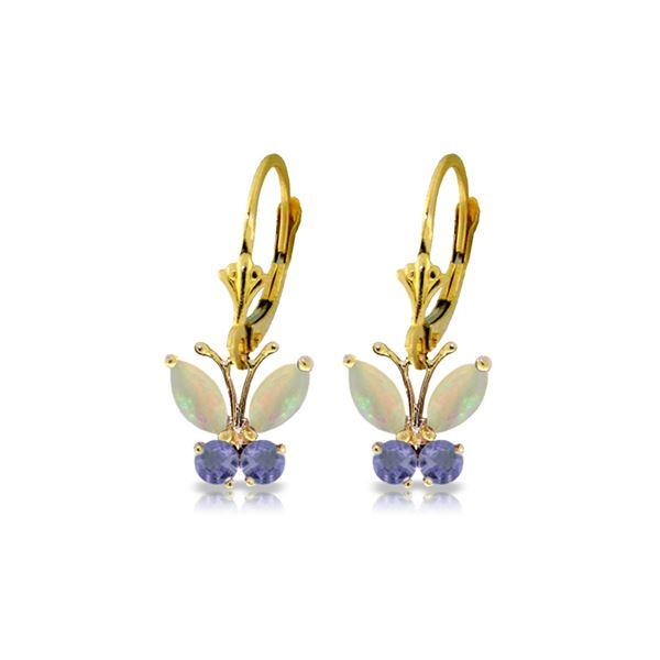Genuine 1.39 ctw Opal & Tanzanite Earrings 14KT Yellow Gold - REF-43V6W