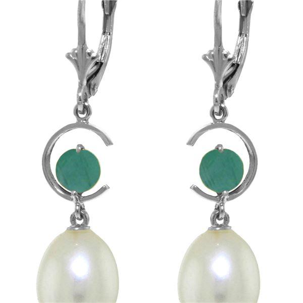 Genuine 9 ctw Pearl & Emerald Earrings 14KT White Gold - REF-39X4M