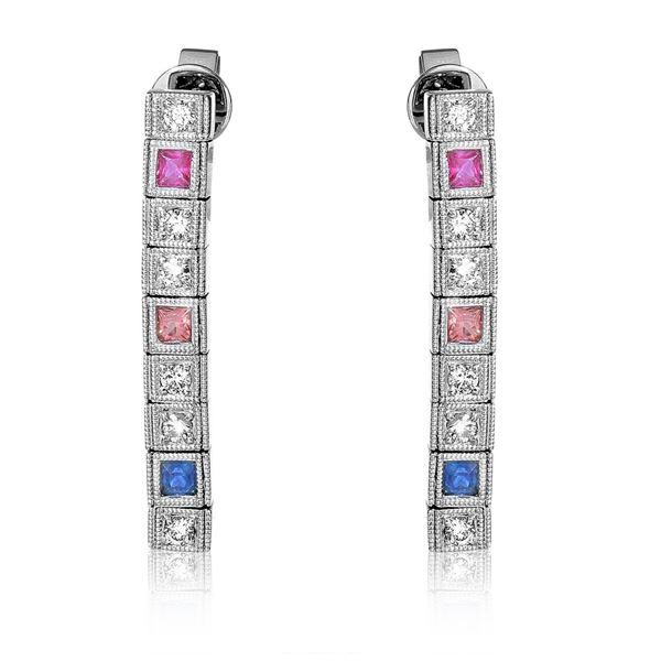 Natural 0.98 CTW Multi-Sapphire & Diamond Earrings 14K White Gold - REF-81T9X