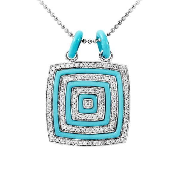 Natural 3.87 CTW Turquoise & Diamond Necklace 14K White Gold - REF-125W3H