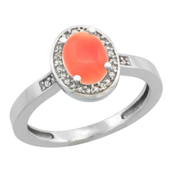 0.15 CTW Diamond & Natural Coral Ring 14K White Gold - REF-37M7K