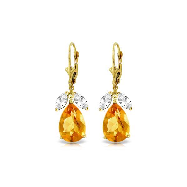 Genuine 13 ctw Citrine & White Topaz Earrings 14KT Yellow Gold - REF-61V2W