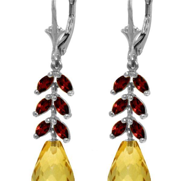 Genuine 11.20 ctw Citrine & Garnet Earrings 14KT White Gold - REF-56N2R