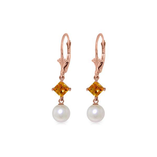 Genuine 5 ctw Pearl & Citrine Earrings 14KT Rose Gold - REF-29A7K