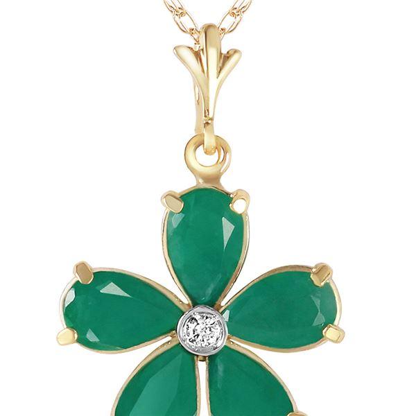 Genuine 2.22 ctw Emerald & Diamond Necklace 14KT Yellow Gold - REF-40P7H