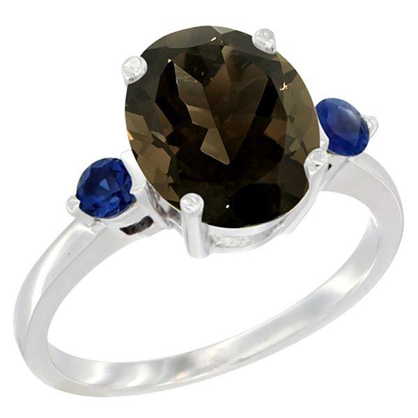 2.64 CTW Quartz & Blue Sapphire Ring 14K White Gold - REF-32W3F