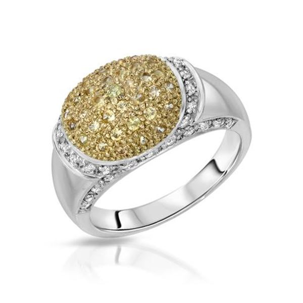 Natural 0.76 CTW Yellow Sapphire & Diamond Ring W=9MM 14K Gold - REF-67N5Y