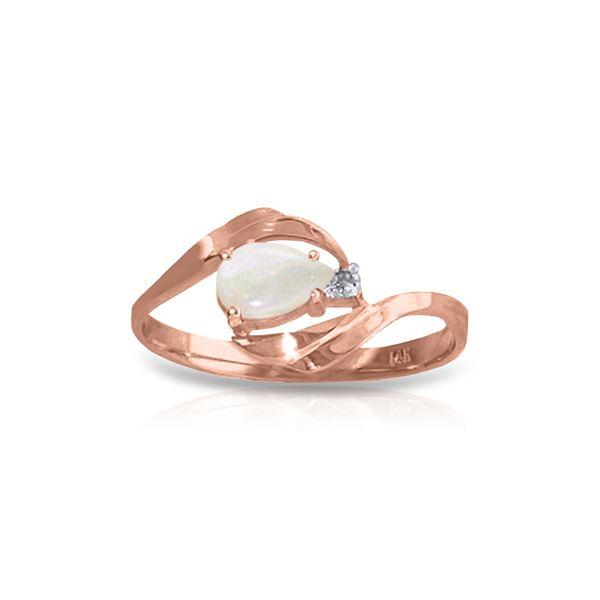 Genuine 0.26 ctw Opal & Diamond Ring 14KT Rose Gold - REF-26K9V