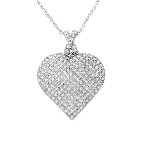 Natural 0.50 CTW Diamond Necklace 14K White Gold - REF-91N8Y