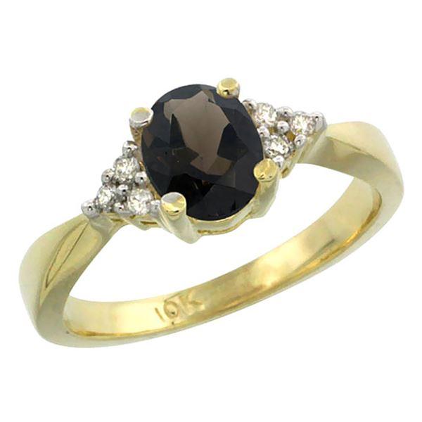 1.06 CTW Quartz & Diamond Ring 10K Yellow Gold - REF-28W4F