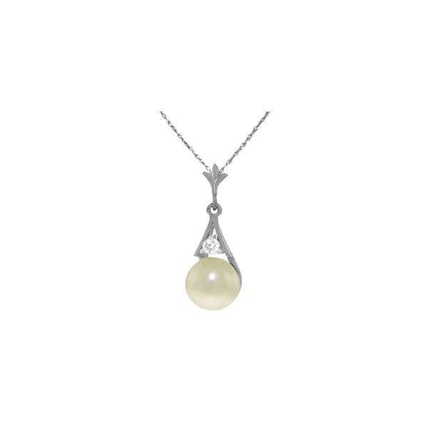 Genuine 2.03 ctw Pearl & Diamond Necklace 14KT White Gold - REF-22K2V