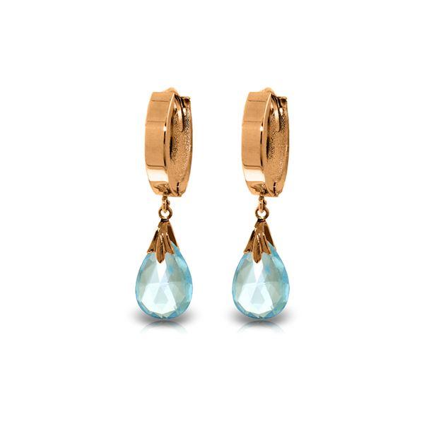 Genuine 6 ctw Blue Topaz Earrings 14KT Rose Gold - REF-47K4V