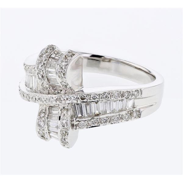 Natural 0.97 CTW Baguette & Diamond Ring 18K White Gold - REF-146K7R