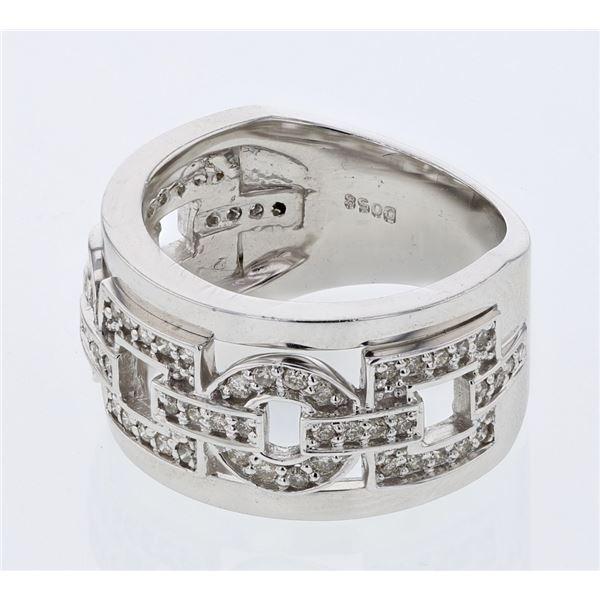 Natural 0.58 CTW Diamond Ring 14K White Gold - REF-119N7Y