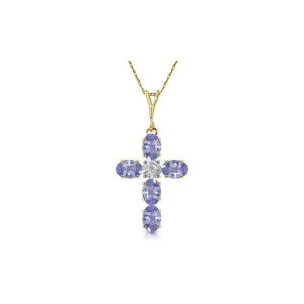 Genuine 1.75 ctw Tanzanite & Diamond Necklace 14KT Yellow Gold - REF-52F9Z