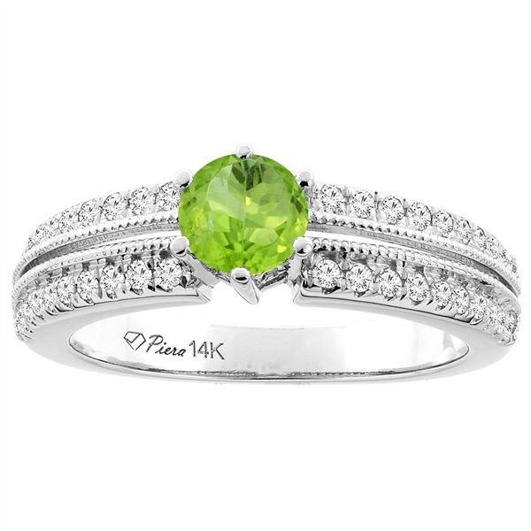 1.10 CTW Peridot & Diamond Ring 14K White Gold - REF-66W9F