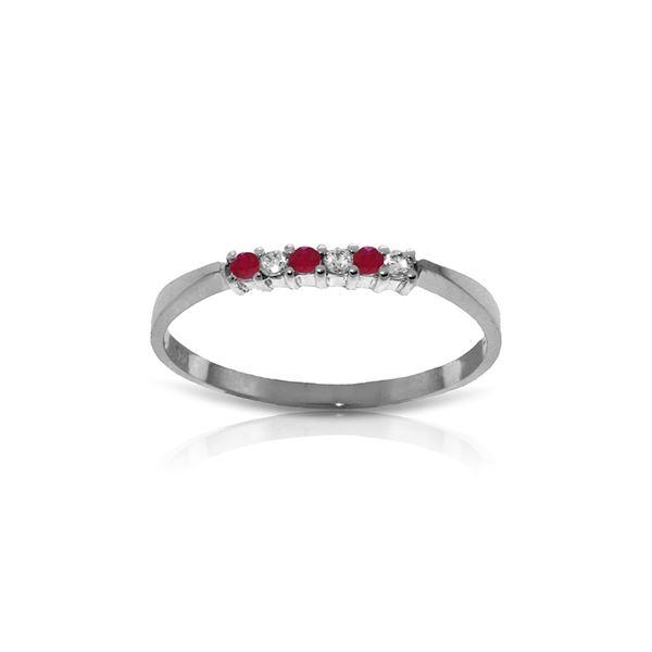 Genuine 0.11 ctw Ruby & Diamond Ring 14KT White Gold - REF-27W5Y