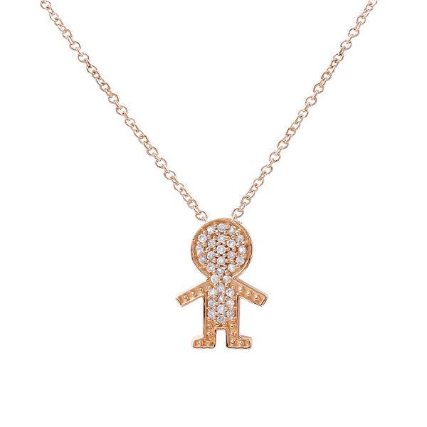 Natural 0.11 CTW Diamond Necklace 14K Rose Gold - REF-22T5X