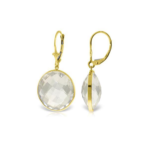 Genuine 36 ctw White Topaz Earrings 14KT Yellow Gold - REF-48N9R
