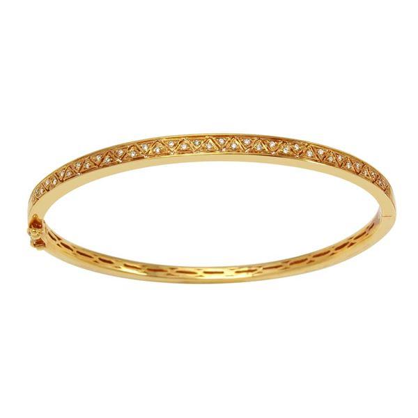 Natural 0.15 CTW Diamond Bracelet 14K Yellow Gold - REF-101F7M