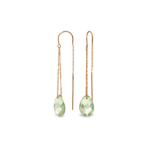 Genuine 6 ctw Green Amethyst Earrings 14KT Rose Gold - REF-21Z9N