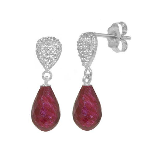 Genuine 6.63 ctw Ruby & Diamond Earrings 14KT White Gold - REF-28A3K