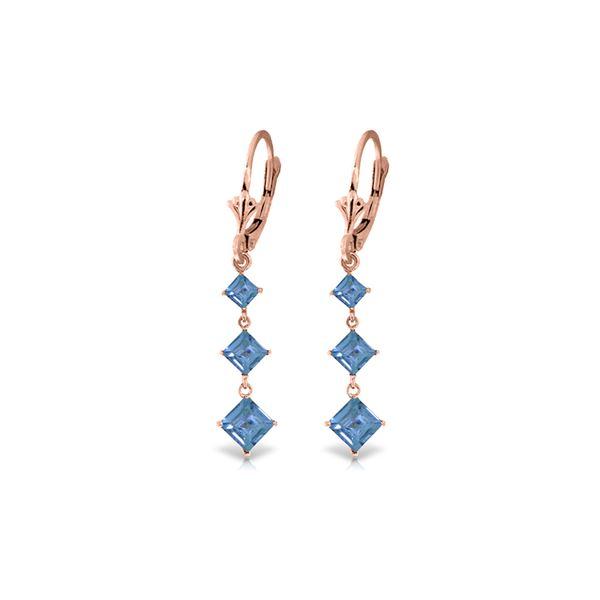 Genuine 4.79 ctw Blue Topaz Earrings 14KT Rose Gold - REF-50F2Z