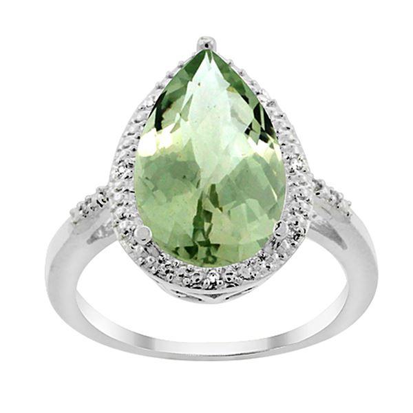 5.55 CTW Amethyst & Diamond Ring 10K White Gold - REF-34Y8V