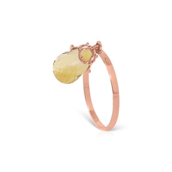 Genuine 3 ctw Citrine Ring 14KT Rose Gold - REF-22X5M