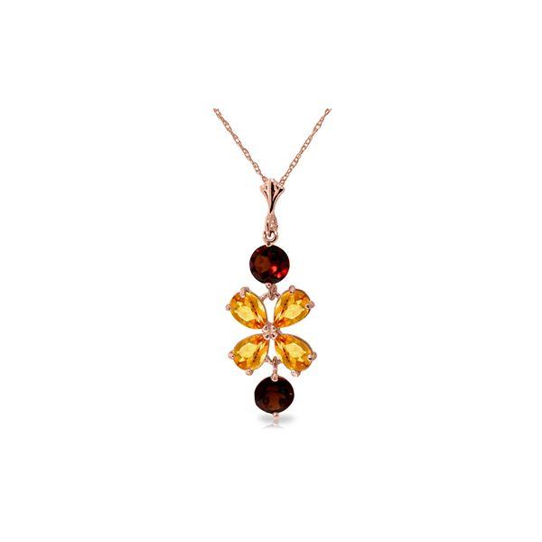 Genuine 3.15 ctw Citrine & Garnet Necklace 14KT Rose Gold - REF-30N3R