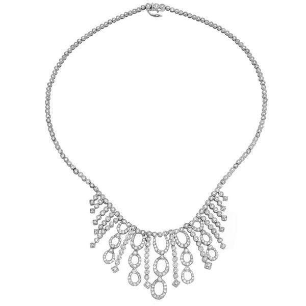 Natural 7.21 CTW Diamond Necklace 14K White Gold - REF-594K9R
