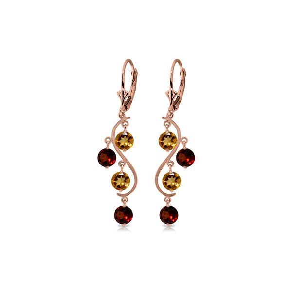 Genuine 4.6 ctw Garnet & Citrine Earrings 14KT Rose Gold - REF-53N4R